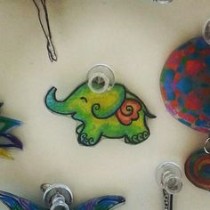 Elephant pin shrinky dink