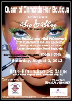 Come get your makeup done at Queen of Diamonds Hair Boutique. www.queenofdiamondshairboutique.com