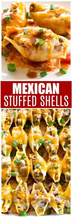 mexican recipes with chicken Mexican Stuffed Shells freeze well as a casserole and can be made ahead of time. This is a great stuffed shell recipe stuffed with seasoned taco beef and topped with taco sauce and cheese. Casserole Recipes, Pasta Recipes, Beef Recipes, Dinner Recipes, Cooking Recipes, Dinner Ideas, Recipies, Lasagna Recipes, Chicken Casserole