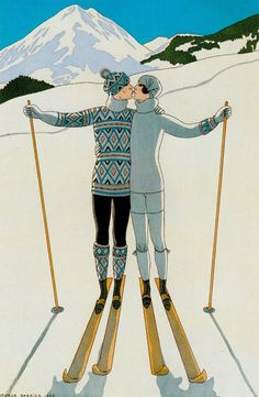 'Winter Lovers in the Snow' 1925 Jazz jumpers & Fair Isle sweaters were popular for skiing. Twentieth Century France. Colour lithograph by GEORGES BARBIER. from 100 years of Fashion Illustration by Cally Blackman (2017) (please follow minkshmink on pinterst) #jazzjumpers #jazzbaby #flapper #dandy #twenties #skiwear #skiing