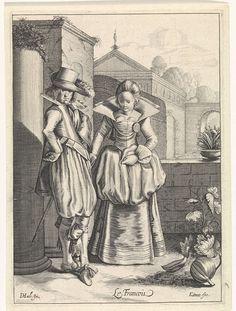 Cornelis van Kittensteyn, 1610 - 1638, Elegant couple wearing French clothing, engraving