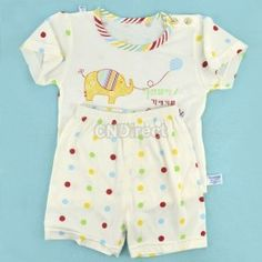 $7.21 Baby Infant Summer Elepant Pattern Suit T-Shirt + Pants/Toddler 3Sizes