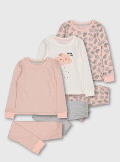 Kids Pink Cloud Snuggle Fit Pyjama Set 3 Pack | Tu clothing