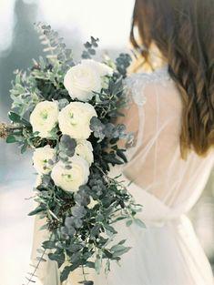 Gorgeous Wedding Bouquet Showcasing: White Ranunculus, Baby Blue Eucalyptus + Green Seeded Eucalyptus