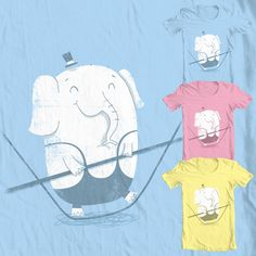 Tightrope Elephant T-shirt Design, This cute textured design was made for threadless's circus competition buy it here as a piece of clothing or print link . Piece Of Clothing, Competition, Shirt Designs, Elephant, Illustrations, Cute, T Shirt, Stuff To Buy, Supreme T Shirt