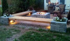 small patio ideas DIY propane fire pit wood benches outdoor furniture