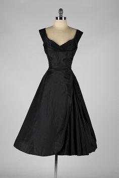 1950's Black Silk Dress