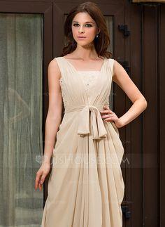 A-Line/Princess V-neck Sweep Train Chiffon Evening Dress With Ruffle Lace Beading (022027057)