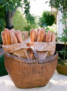 Pretty way to serve bread on a buffet table