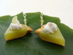 Lime Pie Earrings  Miniature Food Polymer Clay Jewelry by TheMenu, $16.00
