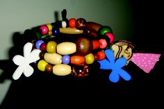 wooden bracelet with pink gal