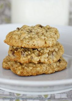 Healthilicious: Oatmeal Cookies 1/2 c. applesauce (I prefer cinnamon applesauce but plain ol' unsweetened works great too) 1/2 c. vegetable oil 3/4 c. sugar 1 c. brown sugar 2 eggs or the equivalent using an egg substitute like Egg Beaters 1 T vanilla 3 c. quick oats (I like to do half quick oats half regular oats. It makes for a chewier cookie) 1 1/2 c. flour 1 tsp baking soda.