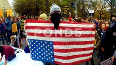 Antifa with an upside down American flag Stock Footage #AD ,#American#upside#Antifa#Footage
