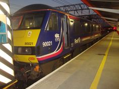 17.4.2012 Class 90 021 on a evening service to London on the Pretendalino stock