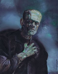 "A beautiful painting of Boris Karloff as he appeared in ""Bride of Frankenstein"""