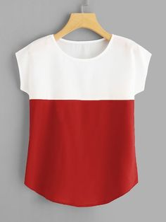 Round Neck Color Block Top are in the right place about Women Pants for kurti Here we offer you the most beautiful pictures about the Women Pants casual you are looking for. Blouse Styles, Blouse Designs, Casual Skirt Outfits, Casual Tops For Women, Ladies Dress Design, Cool Shirts, Pants For Women, Fashion Outfits, Clothes