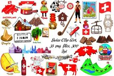 Swiss Culture Clip Art, 35 pngs Graphics This set comes with 35 PNG files with transparent backgrounds. These are easy and resize in your fav by FrankiesDaughtersDesign Swiss National Day, Opi, Travel Doodles, Mountain Decor, Creative Activities, Pictures Images, Illustrations, Preschool Crafts, Travel Posters