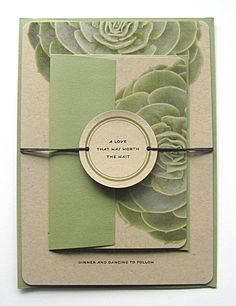 Succulent Wedding Invitations Kraft Paper by sarasofiacouture