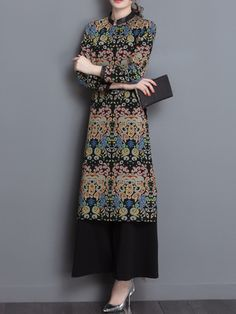 Women Printed Long Sleeve Split Dresses Wide Leg Pants Suits is fashion, see more co ord outfits and short suits women online. Co Ords Outfits, Short Suit, Long Tops, Elegant Woman, Suits For Women, Wide Leg Pants, Printed, Long Sleeve, Dresses
