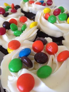 M&M cupcakes with a surprise inside.