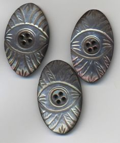 $13.50 3-Lg-Beautiful-Vintage-MOP-Thick-Carved-Abalone-Shell-Buttons-1-1-4-Antique