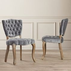 Tufted Dining Chairs Solid Wood Upholstered Side Armless French Chair Set Of 2 #Hampton #FrenchCountry