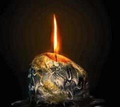 This reminds me of Global Warming because it's a candle that looks like earth and its burning into the atmosphere.