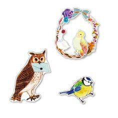 クリエイティブガールと作った 楽しいさえずりが聞こえてきそう♪ 愛らしい鳥たちがちょこちょこ集うシール