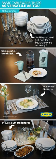 The IKEA Home Tour Squad has smart solutions for using basic tableware in a versatile way to suit any dining needs! From a casual breakfast to a formal dinner, be prepared for anything,