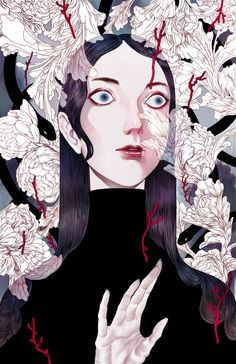 Ha Gyung-Lee makes gorgeous illustrations that combine influences from manga and Japanese folklore with an almost Art Deco Era aesthetic.  Wolves...