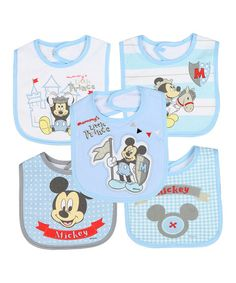 Loving this Blue Mickey Mouse Bib - Set of Five on #zulily! #zulilyfinds