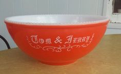"MCKEE RED with HOBNAIL TRIM CHRISTMAS TOM & JERRY PUNCH BOWL 11.5"" X 5"" VINTAGE"