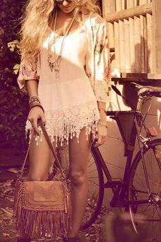 Boho chic crochet embellished tunic dress, modern hippie masa leather fringe purse, gypsy style stacked bracelets. For the BEST Bohemian jewelry & fashion trends FOLLOW http://www.pinterest.com/happygolicky/the-best-boho-chic-fashion-bohemian-jewelry-gypsy-/
