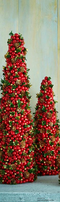 Salzburg Creations Red & Green Holly Conical Trees