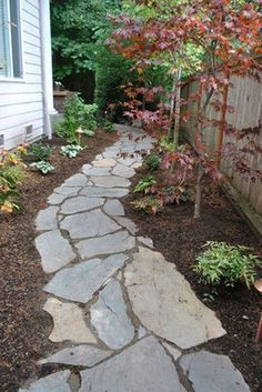 60 Exciting Front Yard Path & Walkway Ideas – Page 24 of 60 - All For Garden Landscaping With Rocks, Front Yard Landscaping, Landscaping Ideas, Garden Stones, Garden Paths, Backyard Walkway, Walkway Ideas, Walkway Designs, Backyard Ideas