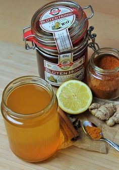 It's flu season again and whether you're already feeling under the weather or just trying to avoid getting sick try this powerful microbe-fighting infusion. Fighting The Flu, Winter Drinks, Raw Honey, Honey Lemon, Vegetarian Paleo, Yummy Drinks, Turmeric, Healthy Tips, Home Remedies