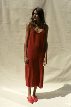 JOSEFINA SLIP DRESS, BRIGHT RUST,