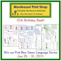Great Giveaway! birthday bash, montessori stuff, 10th birthday, blue green, montessori materials, print shop, montessori print