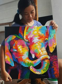 artist Sumaree Nunsang. Acrylic painting on canvas