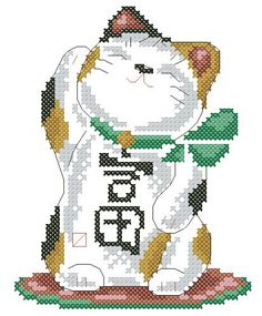 Wealth in the House - cross stitch pattern- too bad I suck at cross-stich, but I LOVE maneki neko!