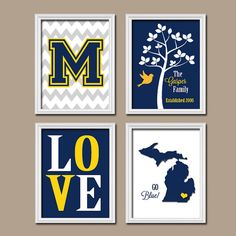 University of Michigan Wolverine Blue Yellow College Custom Family State LOVE Bird Tree Wedding Date Set of 4 Prints WALL ART Graduation on Etsy, $35.00