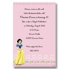 Disney Snow White Hearts Birthday Invitations