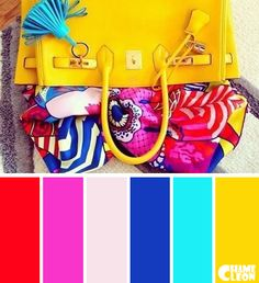 Color Palette, handbag, headscarf, azure, yellow, blue, magenta, red.