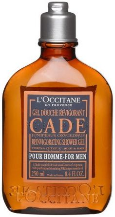 L'Occitane Gel Douche Revigorant, Cade pour Homme (Reinvigorating Shower Gel for Men), 8.4-Ounce Bottle by L'Occitane. $20.00. All that's needed in a gym or travel bag. Leaves both body and hair thoroughly cleansed and reinvigorated. With nourishing Shea Butter for bonus moisturization, and Cade complex of authentic, Provence-derived juniper, sandalwood, Immortelle and rosemary essential oils create a purifying zing. - Size: 8.4 fl.oz