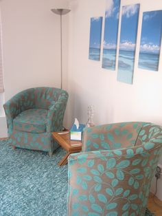 Counselling room in Bracknell Office Space Design, Office Interior Design, Office Interiors, Counseling Office Decor, Counselor Office, Counselling Room, Bean Bag Chair, Room Decor, Life Coaching