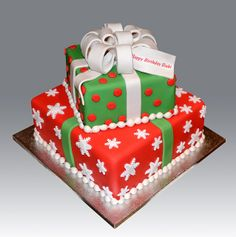 2 Tier Christmas Gift Box Cake - Gifts box ideas, Gifts for teens,Gifts for boyfriend, Gifts packaging Christmas Gift Cake, Christmas Deserts, Holiday Cakes, Christmas Cookies, Xmas Cakes, Holiday Treats, Christmas Baking, Christmas Recipes, Xmas Gifts