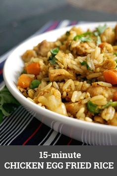 Healthy Chinese Chicken Egg Fried Rice, the easiest, quickest, and tastiest way of using up leftover rice. A delicious dinner can be ready in 15 minutes, and what a dinner! No need for take-away tonight, we've got Chinese at home! Healthy, filling, yummy, this is the best Chinese recipe. #eggfriedrice, #chinesefood, #chinese, #leftovers, #healthyfood #healthyrecipes , #15minutemeals, #comfortfood