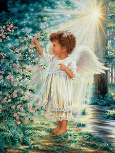 Angel Picking Flowers - By: Dona Gelsinger - Artist Angel Images, Angel Pictures, Angels Touch, Jesus E Maria, I Believe In Angels, Angels Among Us, Angels In Heaven, Heavenly Angels, Guardian Angels
