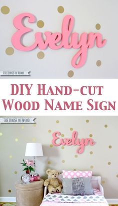 DIY Hand-cut Wood Name Sign by Jen Woodhouse / The House of Wood