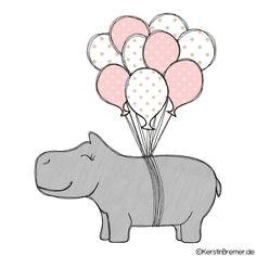 Luftballon Nilpferd Doodle Stickdatei